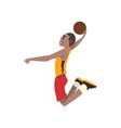 basketball player athlete in uniform jumping vector image