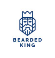 bearded king with a crown on his head vector image vector image