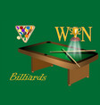 billiards table and balls vector image vector image