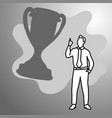 businessman with big silhouette trophy vector image vector image