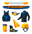 canoeing or kayaking equipment sport tools set vector image vector image