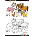 cartoon farm animals coloring book vector image