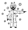cartoon man wearing protective suit and face vector image