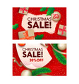 christmas sale banners with wrapped festive gift vector image