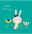 cute bunny rabbit vector image vector image