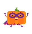 cute cartoon pumpkin superhero in mask and purple vector image vector image