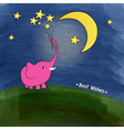 cute pink elephant with a bouquet of stars vector image