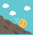dollar coin rolling downhill vector image vector image