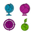 earth icon set color outline style vector image vector image