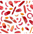 Flat meat and sausages icons pattern