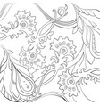 floral pattern drawn in a line art stylecoloring vector image vector image