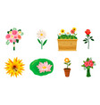 flower icon set cartoon style vector image