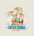 forever summer 2017 palms on beach graphic poster vector image vector image