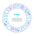 fridge thin line banner card circle vector image vector image
