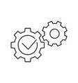 gears with check mark line icon on white vector image vector image