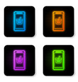 glowing neon mobile phone and shopping basket vector image vector image