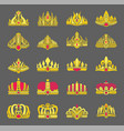 gold crowns inlaid with rubies for royalty set vector image vector image