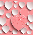 greeting card with 3d hearts valentines day vector image