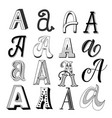 hand drawn set different writing styles vector image vector image