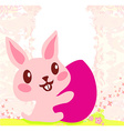 happy Easter bunny carrying egg vector image vector image