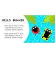 hello summer banner flyer pool party black cat vector image vector image