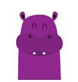 hippopotamus hippo face head icon kawaii animal vector image