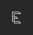 Hipster E letter logo monogram crossing outline vector image vector image