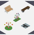 isometric city set of recreation crossroad swing vector image vector image