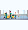 janitors team cleaning service concept cleaners in vector image vector image