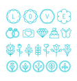 love and wedding linear icons vector image vector image