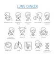 lung cancer outline icons set vector image vector image