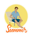 man sitting on a beach chair vector image