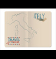 map italy drawn hand in an open stapled vector image