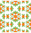 orange and green floral folk pattern vector image