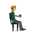 people holding coffee cup sitting in the office vector image vector image