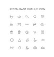 restaurant line icon set vector image vector image