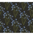 Romantic Wild Flowers on Black Seamless Pattern vector image vector image