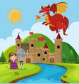 scene with dragon and knight in fairyland vector image