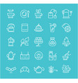 set flat line icons tea vector image