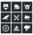 Set of Viking Icons Warrior Ship vector image vector image
