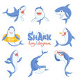 shark cute animal fish attack playing hungry and vector image