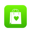 shopping bag icon digital green vector image