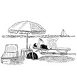 sketch of a woman sunbathing on the beach vector image vector image