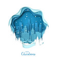 snowy chicago city merry christmas paper art vector image vector image
