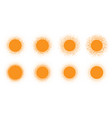 sun icon halftone orange set vector image vector image