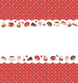 Sweets frame on red in dots vector image vector image