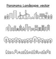 thin line style city panorama urban landscape vector image