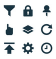 user icons set with setting download wait and vector image