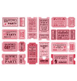 valentines day tickets templates coupons vector image