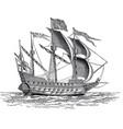vintage british war ship engraving vector image